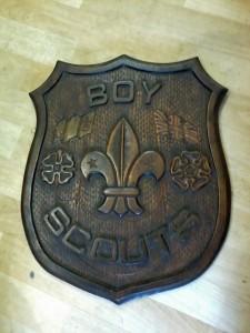 Carned wooden shield